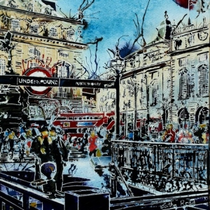 ©2017 - Cathy Read -Piccadilly Circus - Watercolour and Acrylic  -   40x30 cm