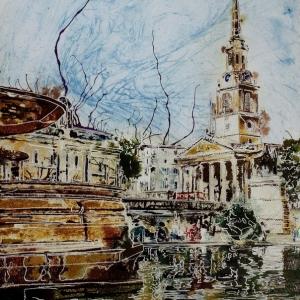 Trafalgar-Fountain - ©2018-Cathy-Read-Watercolour-and-Acrylic-40-x-30-cm-£390