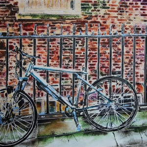 Alley Bike - ©2020 - Cathy Read - Watercolour and Acrylic ink- 40 x 50cm