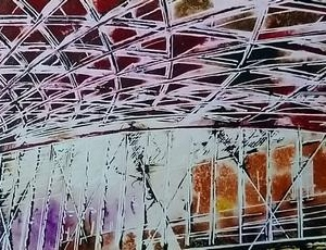 Kings Cross the pink side - ©2020 - Cathy Read - Watercolour and Acrylic - 51x17.5 cm