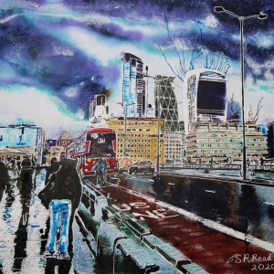 London Bridge -©2020-Cathy-Read-Watercolour-and-Acrylic-41-x-50.6-cm