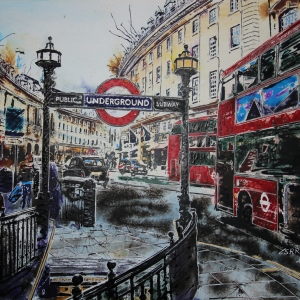 Regent Street- ©2020- Cathy Read-Watercolour and acrylic ink - 56x76cm