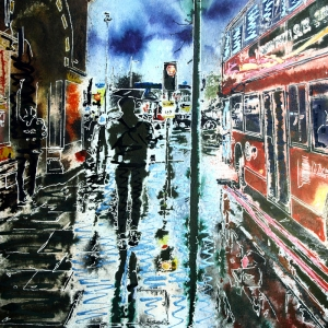 St Pancras Reflections - ©2020-Cathy Read-Watercolour and Acrylic