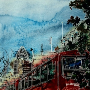 Bus Queue - ©2015 - Cathy Read - Watercolour and Acrylic  - 55x75 cm