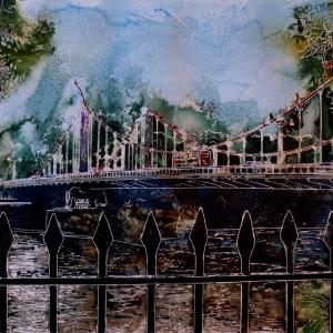 Chelsea Bridge- ©2015 - Cathy Read Watercolour and Acrylic  - 50 x 40 cm