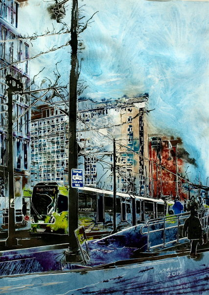 City Reflections- ©2015 - Cathy Read - Mixed Media- 76x56cm