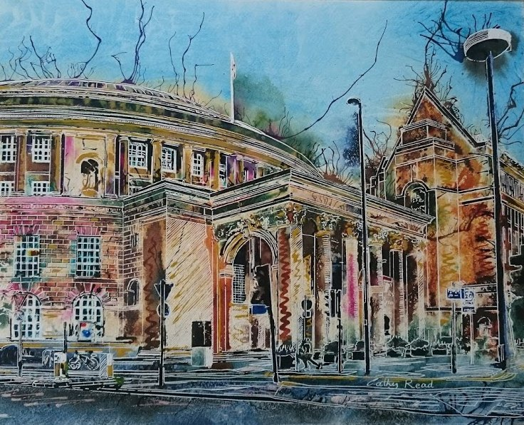 Painting Colour in Manchester Central Library (SOLD)-©2017 - Cathy Read - SOLD