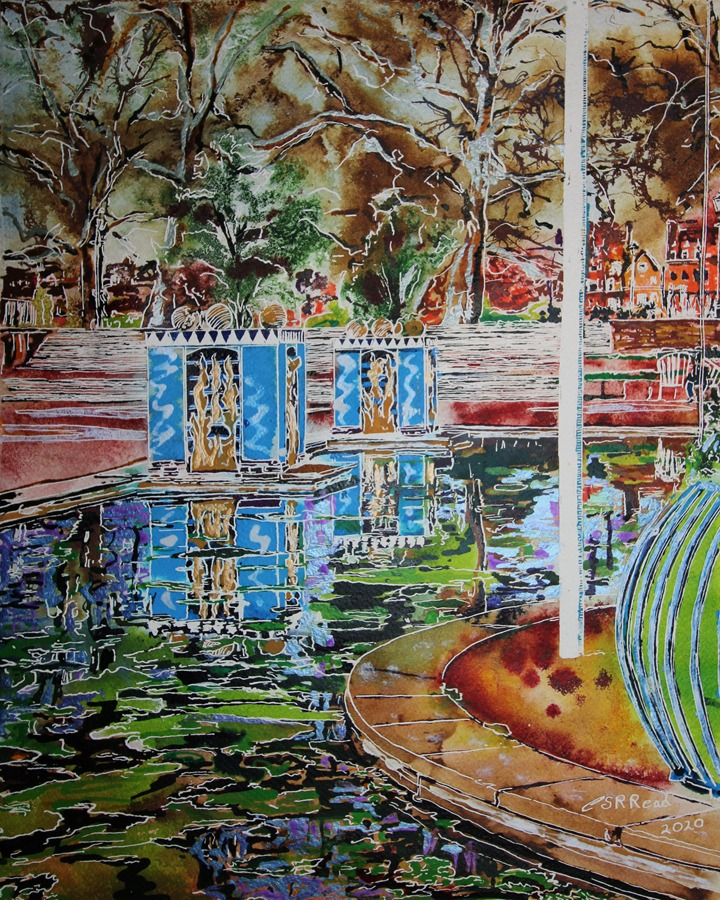 Battersea Park  - Cathy Read - ©2020 - 40 x 50 cm - Watercolour and acrylic ink