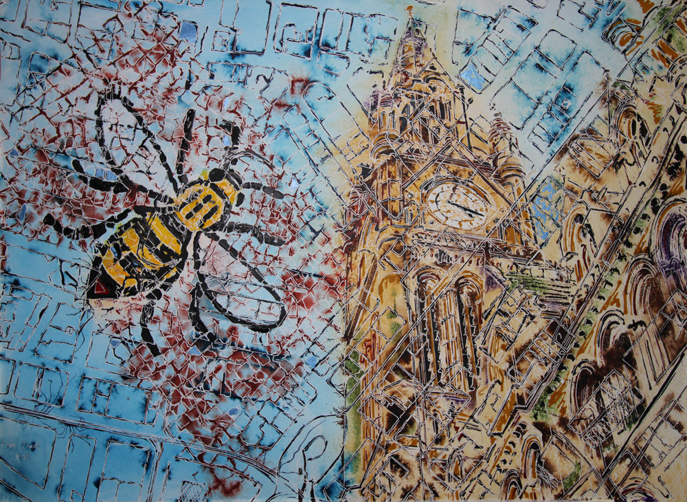 Manchester Map- ©2020- Cathy Read-Watercolour and Acrylic - 56x76cm