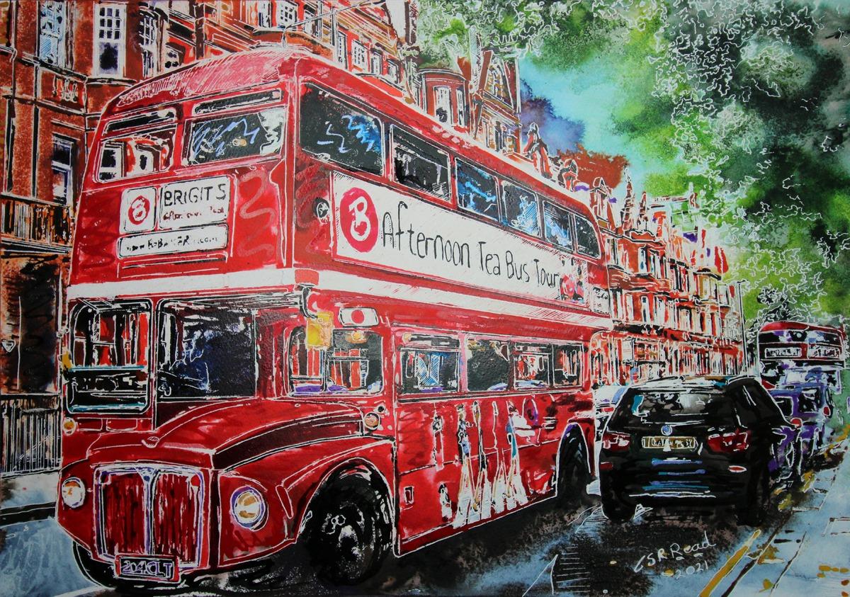 Bigits Tea Bus - ©2021 - Cathy Read -  watercolour and acrylic Ink - 42 x 59 cm