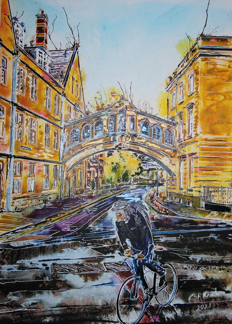 Hertford College, Oxford Bridge of Sighs - ©2021 - Cathy Read - 59.4 x 42.8 cm - Watercolour and acrylic ink