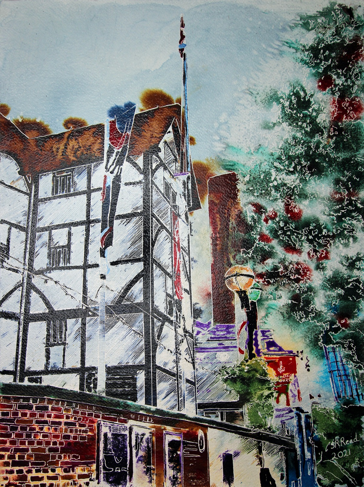 Globe Theatre - ©2021- Cathy Read - 61 x 45.7 x 2.3 cm, Watercolour and ink