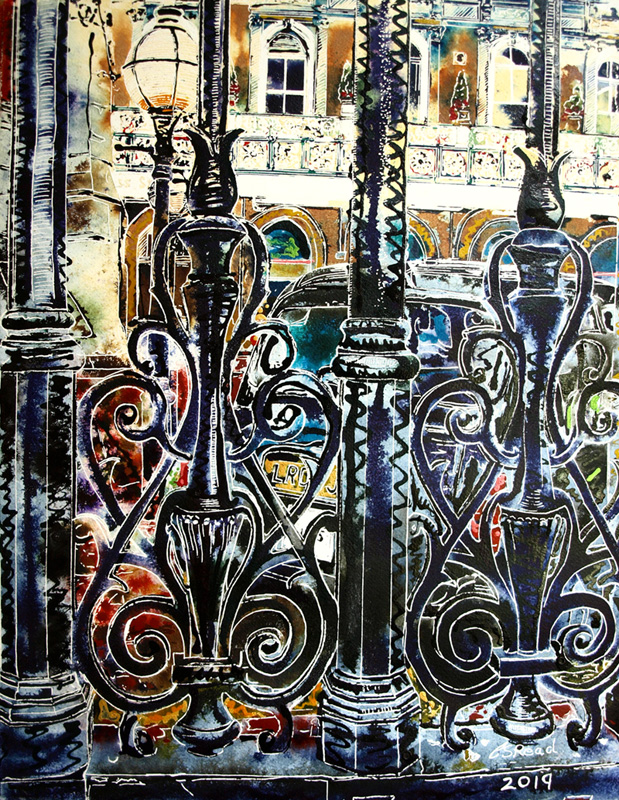 Charing Cross - ©2019 - Cathy Read -watercolour and acrylic ink-51-x-41cm