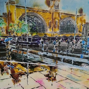 Kings Cross Reflections - ©2020 - Cathy Read -Watercolour and Acrylic Ink