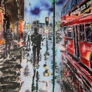 St Pancras Reflections- ©2020 - Cathy Read - Watercolour and Acrylic - 40 x 50 cm