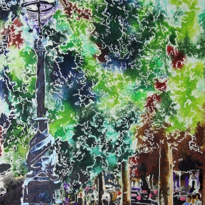 Embankment - ©2021 - Cathy Read - Watercolour and Acrylic - 38 x 28 cm