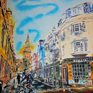 Turl Street Turn - ©2021 - Cathy Read -  50 x 40 cm - Watercolour and acrylic ink