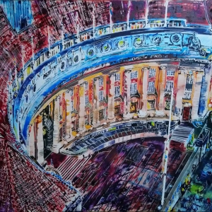 County Hall - ©2020 - Cathy_Read-75x105cm - Watercolour and acrylic ink on paper
